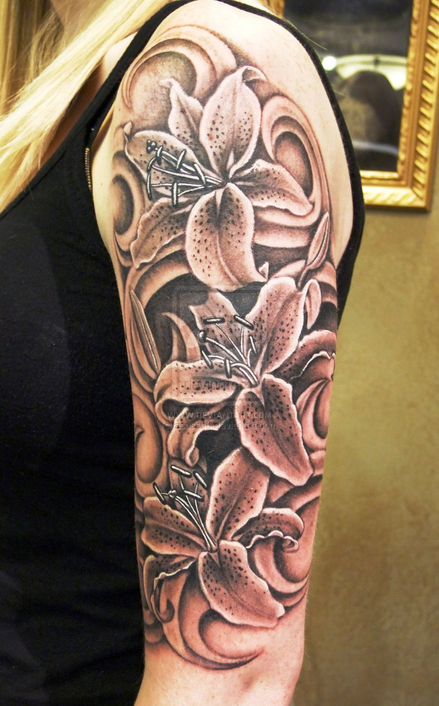 Black and Grey Lily Sleeve Tattoos