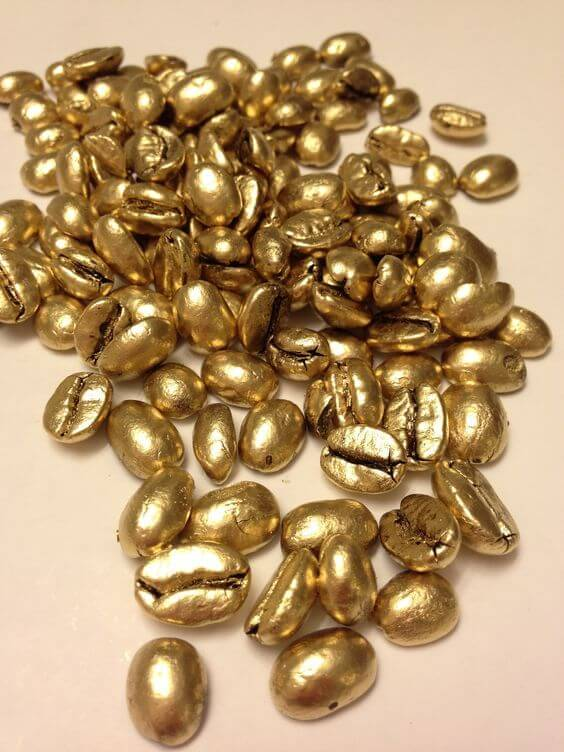 Coffee beans transformed into golden pearls (1)