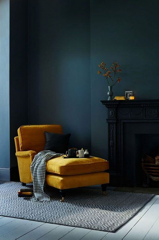 Blue and yellow reading corner in the living room (1)
