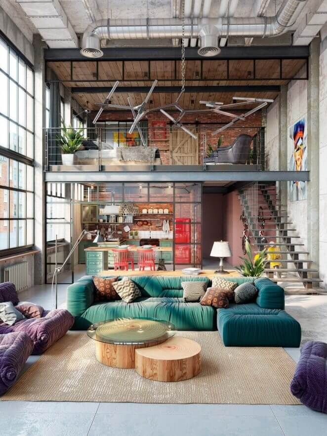 Put some color in your industrial living room (1)