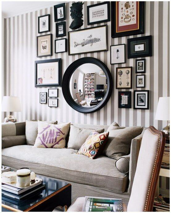 Hang your photos on the wall and accompany them with a mirror (1)