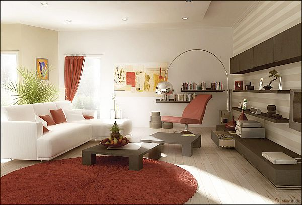 A dark red goes sumptuously with the furniture