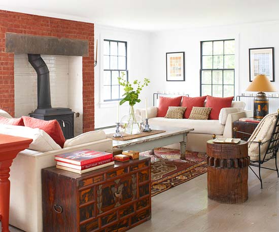 Red and cream living room