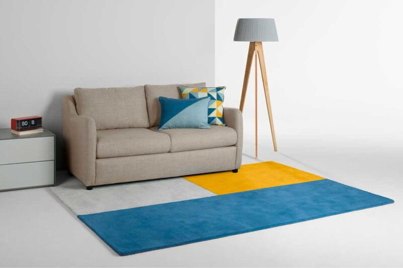 Tufted carpet design blue gray and yellow (1)